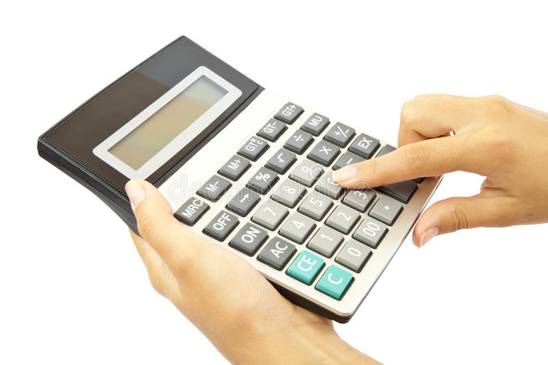 Download Calculator with hand stock image. Image of analyze, technology - 26551101