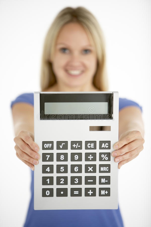 calculator holding woman στοκ φωτογραφία με δικαίωμα ελεύθερης χρήσης