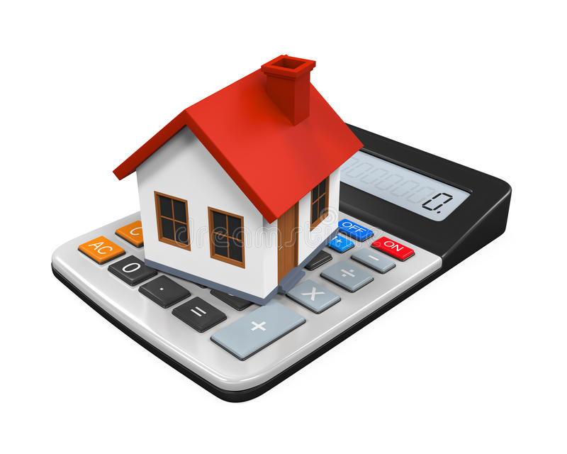 Calculator and House Icon. Isolated on white background. 3D render stock illustration