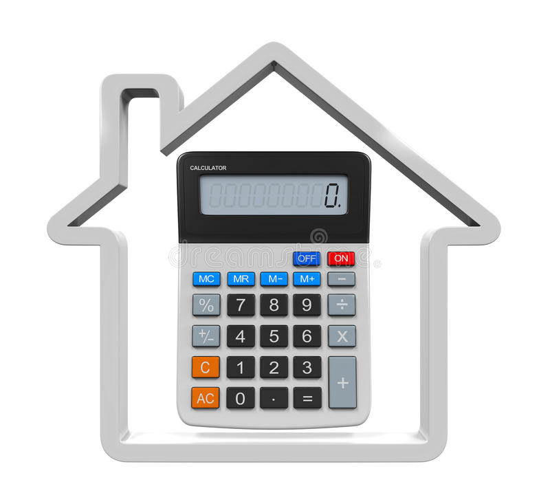 Calculator and House Icon. Isolated on white background. 3D render royalty free illustration