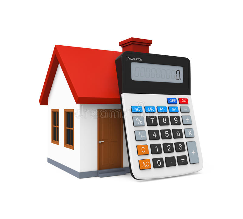 Calculator and House Icon. Isolated on white background. 3D render vector illustration