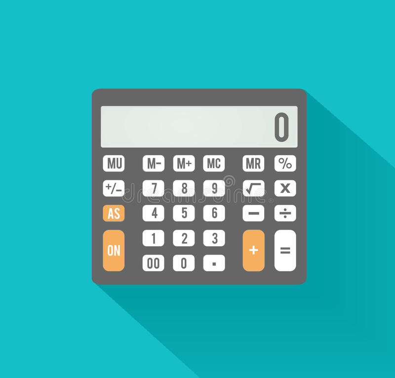 Calculator icon. Business concept with mathematics. Symbols stock illustration