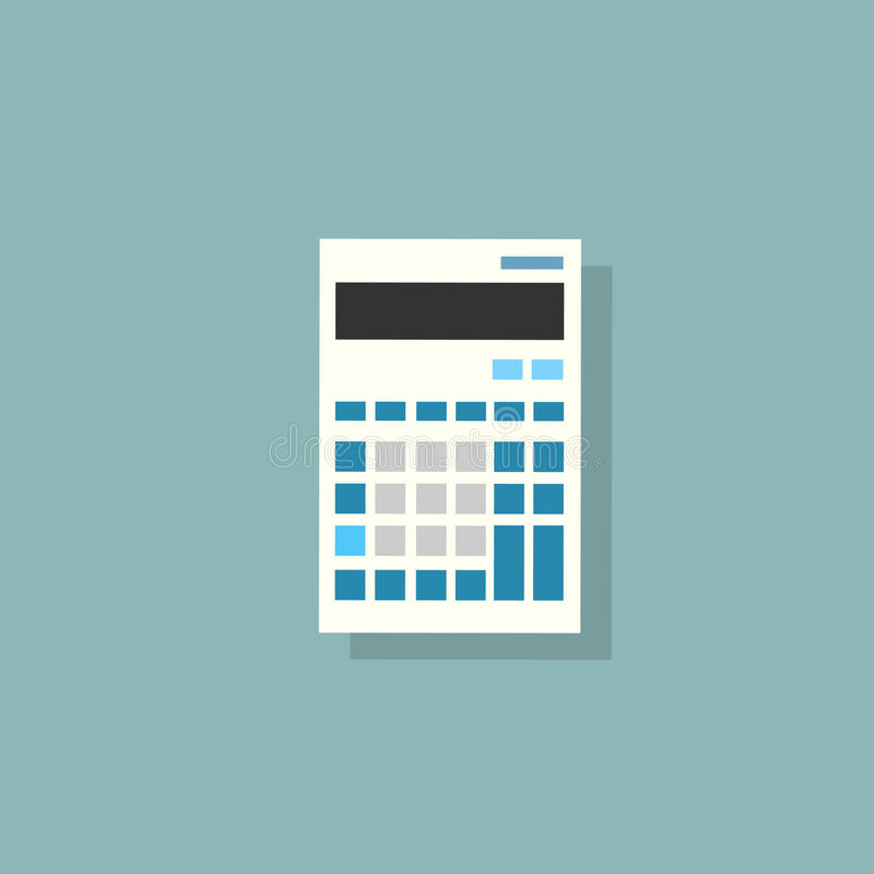 Calculator icon color flat design vector. Illustration royalty free illustration