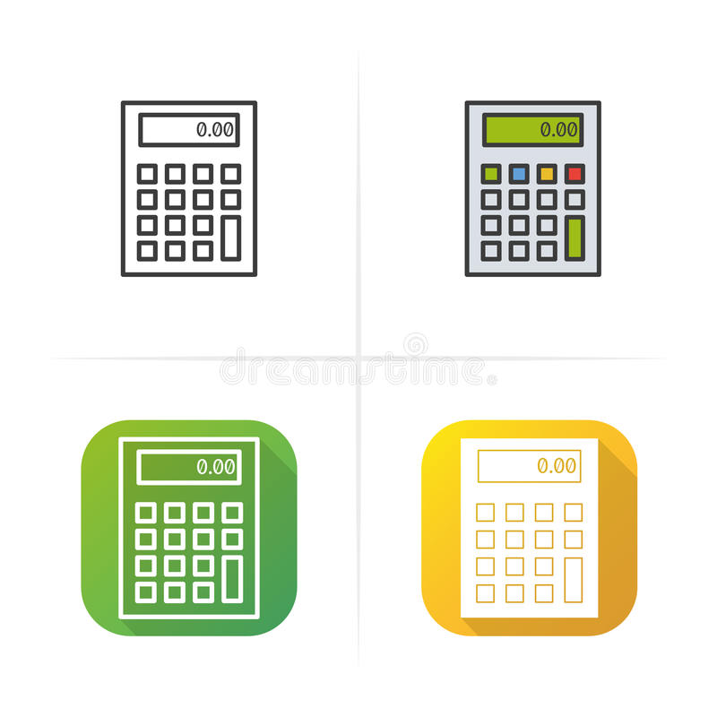 Calculator icon. Flat design, linear and color styles. vector illustrations. Calculator icon. Flat design, linear and color styles. vector illustrations royalty free illustration