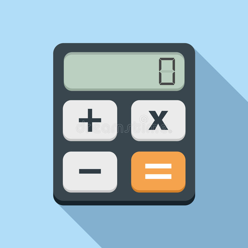 Calculator Icon. Flat design with long shadow stock illustration