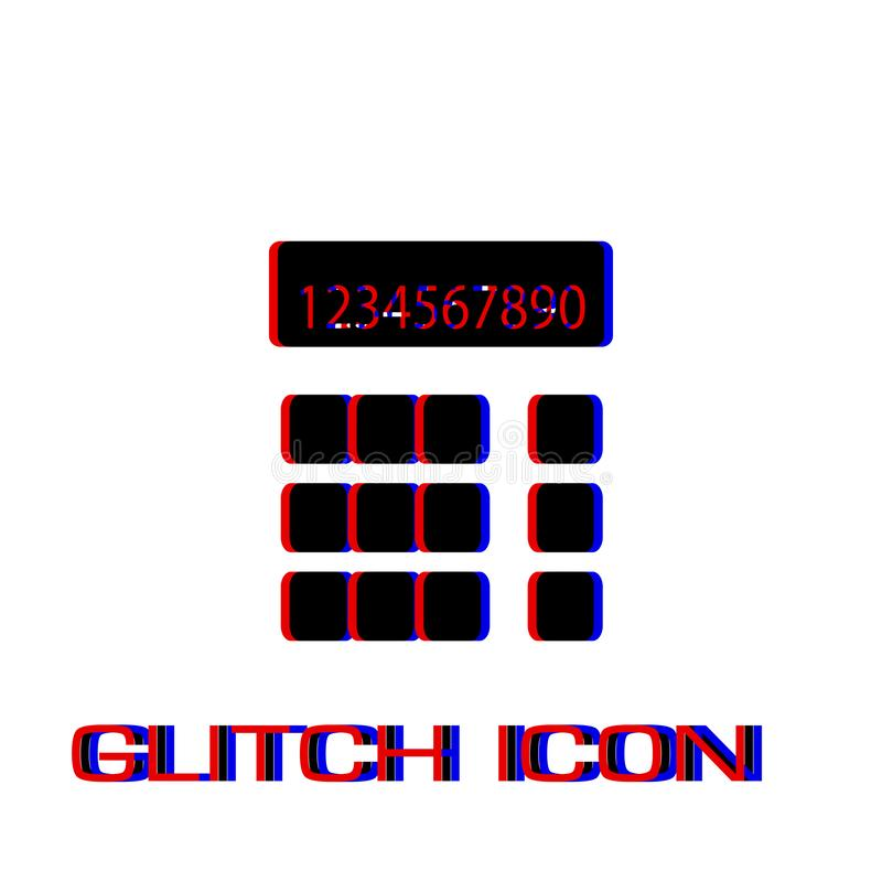 Calculator icon flat. Simple pictogram - Glitch effect. Vector illustration symbol royalty free illustration