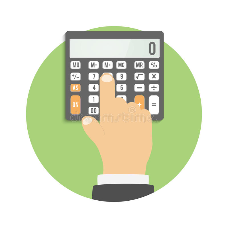 Calculator icon. Hand considers on the calculator. Calculator icon. Business concept businessman considers on the calculator royalty free illustration