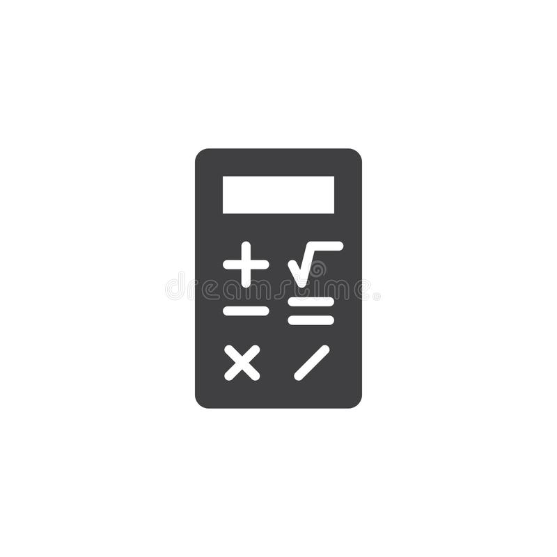 Calculator icon vector. Filled flat sign, solid pictogram isolated on white. Calculate symbol, logo illustration royalty free illustration