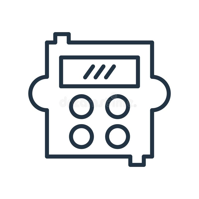 Calculator icon vector isolated on white background, Calculator sign , line symbol or linear element design in outline style stock illustration