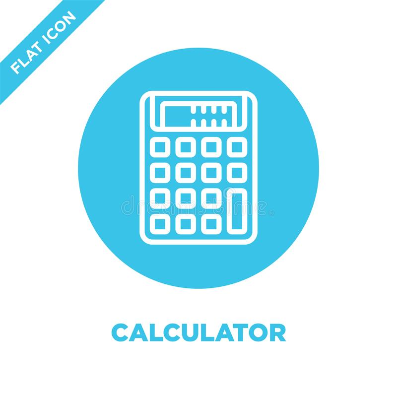 Calculator icon vector from stationery collection. Thin line calculator outline icon vector  illustration. Linear symbol for use. On web and mobile apps, logo vector illustration