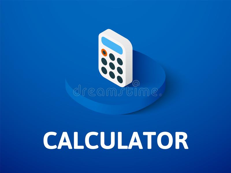 Calculator isometric icon, isolated on color background vector illustration