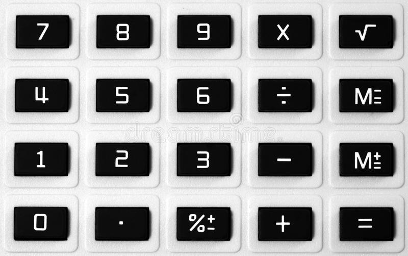 Calculator keypad. Closeup of an old style calculator keypad background royalty free stock photos