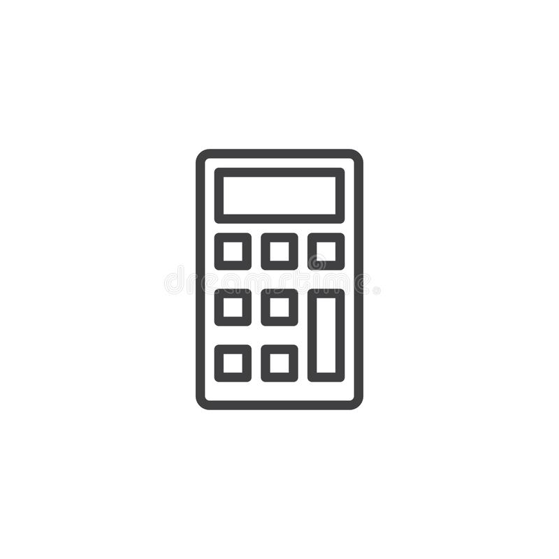 Calculator line icon. Outline vector sign, linear style pictogram isolated on white. Math, accounting symbol, logo illustration. Editable stroke vector illustration