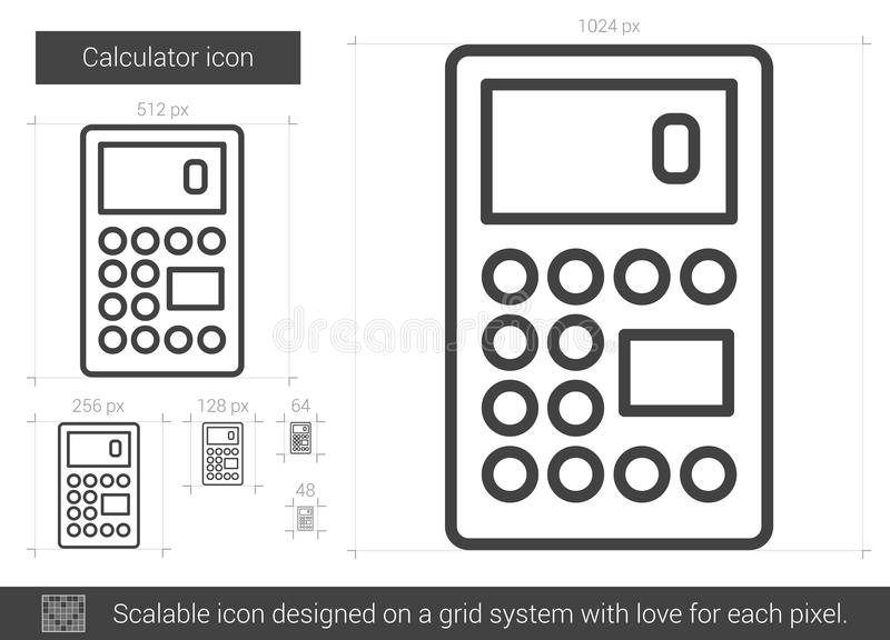Calculator line icon. Calculator vector line icon isolated on white background. Calculator line icon for infographic, website or app. Scalable icon designed on vector illustration