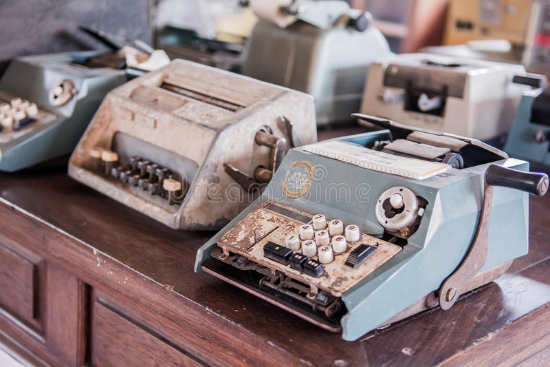 Calculator machine. Ole typewriter and calculator machine stock images