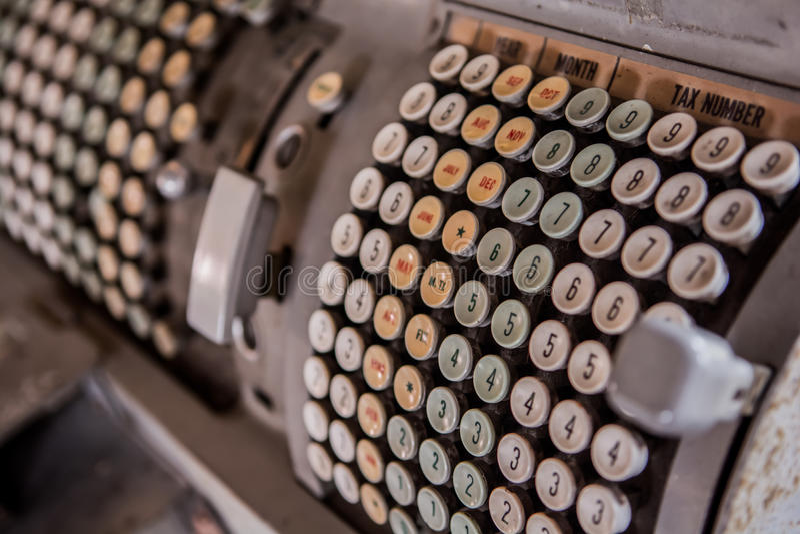 Calculator machine. Ole typewriter and calculator machine stock image