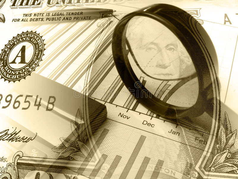 Calculator&Magnifier (sepia) royalty free stock images