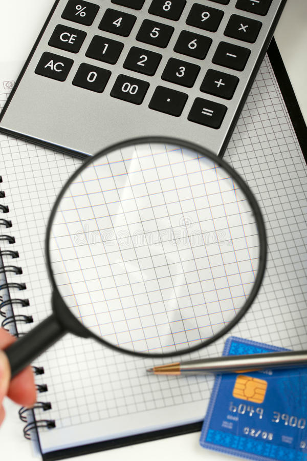 Download Calculator, Magnifying Glass And The Note Stock Image - Image: 22901543