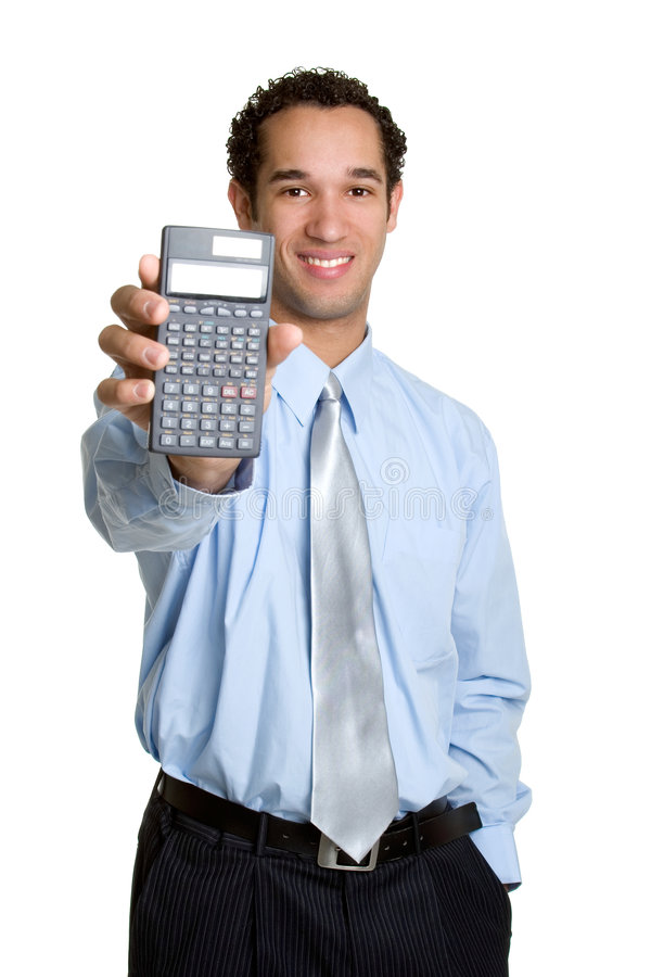 Calculator Man. Isolated business man holding calculator stock photo
