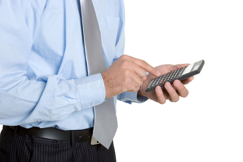 Calculator Man. Isolated young businessman holding calculator royalty free stock images
