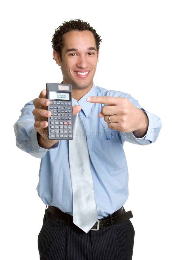 Calculator Man. Isolated young businessman holding calculator royalty free stock image
