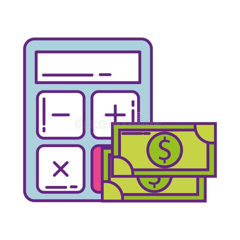 Calculator math with bill dollar isolated icon. Vector illustration design stock illustration