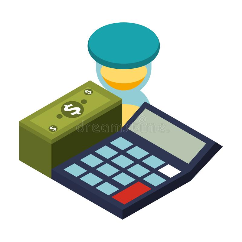 Calculator math with stack bill dollar and hourglass. Vector illustration design stock illustration