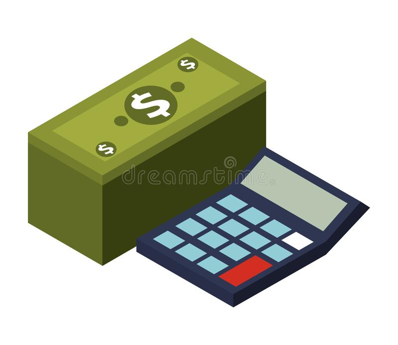 Calculator math with stack bill dollar. Vector illustration design royalty free illustration