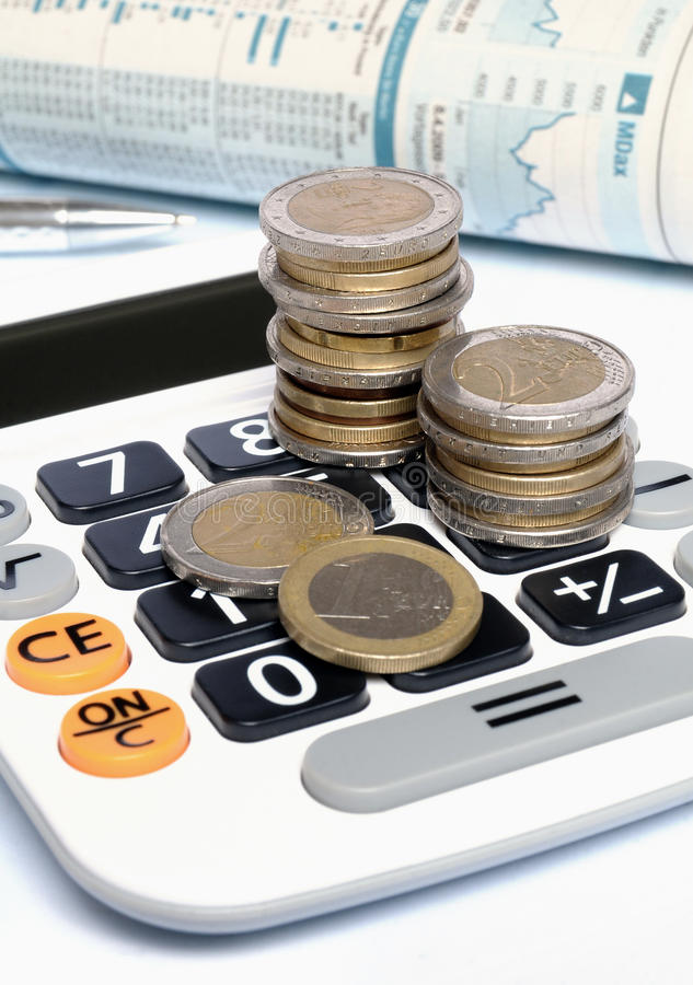 Calculator met Euro royalty-vrije stock foto's