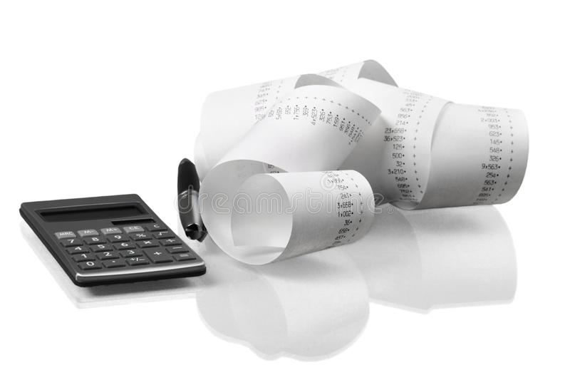Calculator met Opgerolde Ponsband royalty-vrije stock afbeeldingen