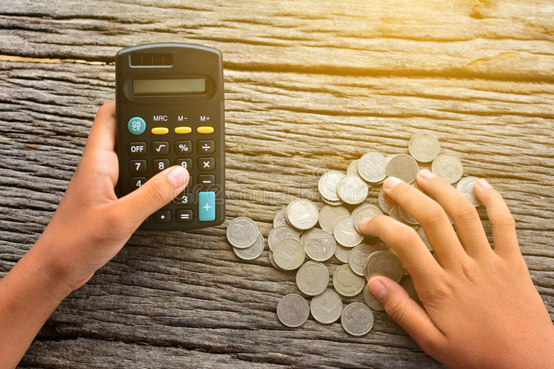 Download Calculator with money stock photo. Image of digital, finger - 74892196