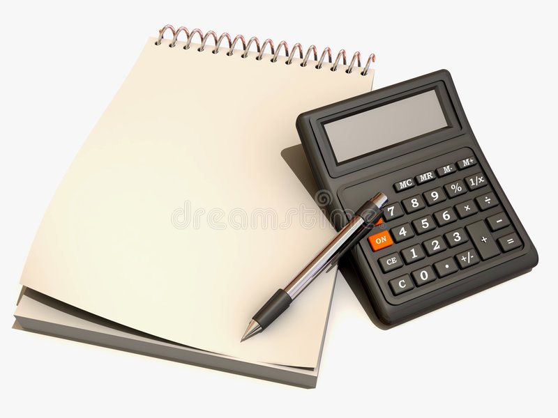 Calculator, notebook and pen royalty free illustration