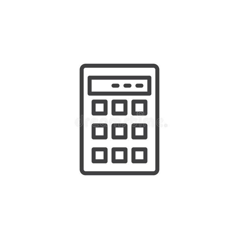 Calculator outline icon. Linear style sign for mobile concept and web design. Calculation simple line vector icon. Symbol, logo illustration. Pixel perfect stock illustration