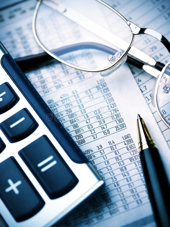 Free Calculator, Pen And Glasses Royalty Free Stock Images - 18972589