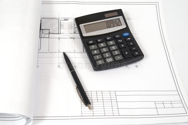 Calculator and pen on the blueprint stock image image for Blueprint estimator