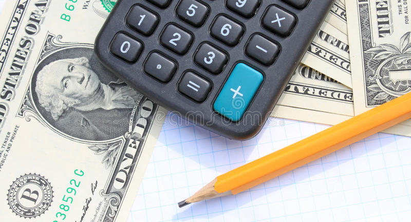 Download Calculator, Pen And Pad At Dollars Stock Photo - Image: 39597728