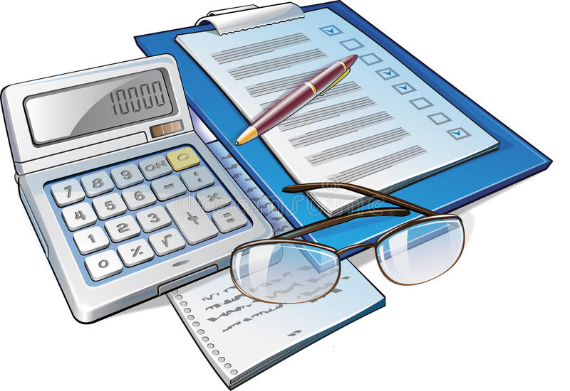Download Calculator, Pen and Papers stock illustration. Illustration of financial - 13503606