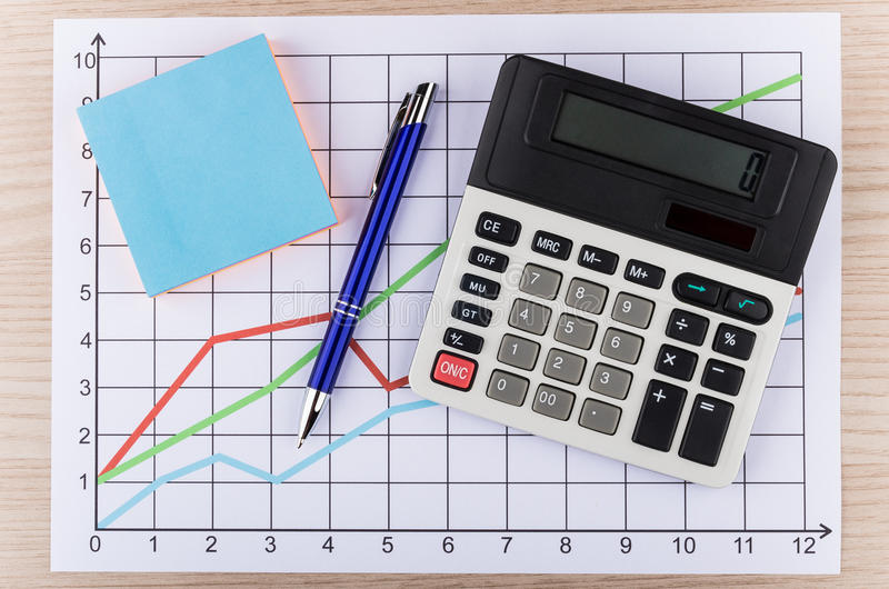 Calculator and pen on printouts with graph. Calculator and pen on printouts with colored graph royalty free stock photography