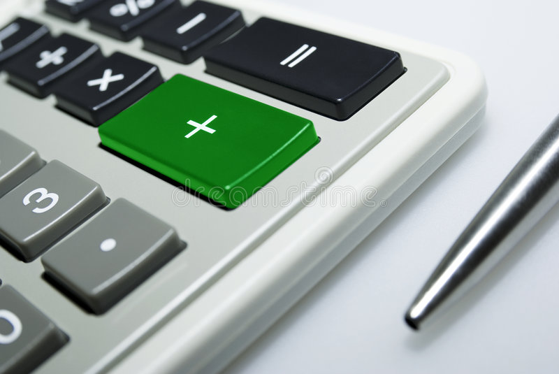 Download Calculator And Pen On White Background. Stock Image - Image: 6526667