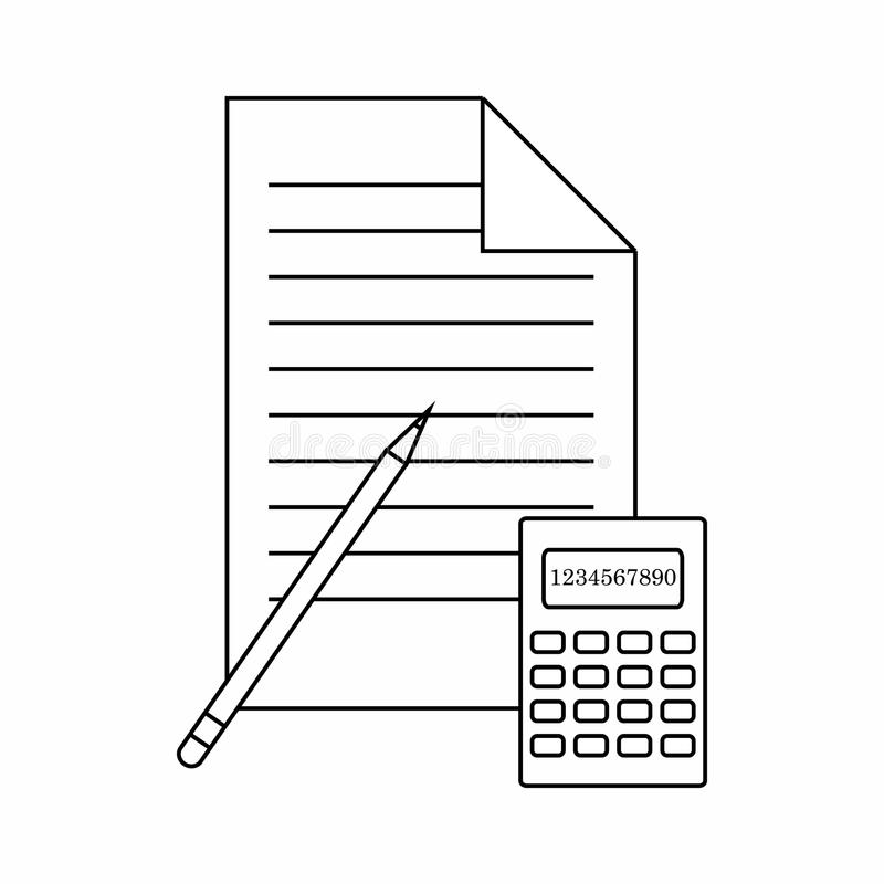 Calculator, pencil and paper icon, thin line style. Calculator, pencil and paper icon in thin line style isolated on white background vector illustration