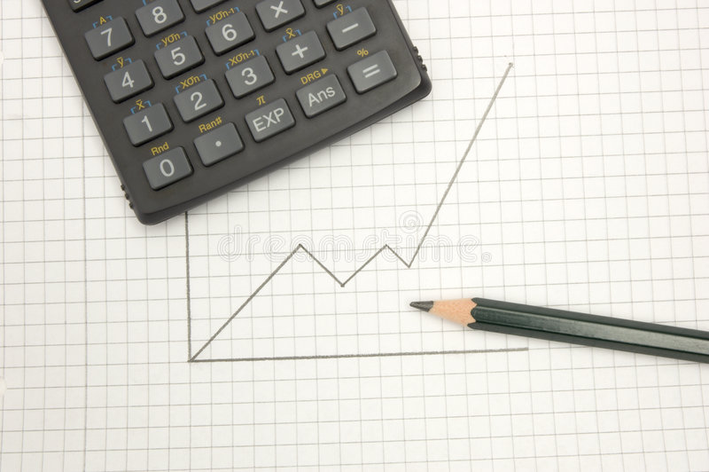 Calculator And Pencil On Sqared Paper Royalty Free Stock Photos