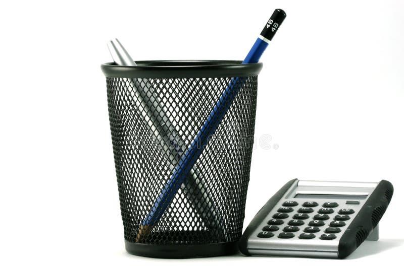 Download Calculator and Penholder stock image. Image of stuff, basket - 1028319