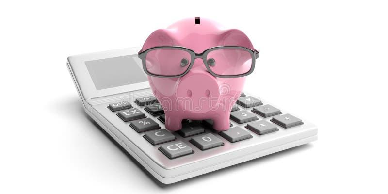 Calculator and piggy bank on white background. 3d illustration vector illustration