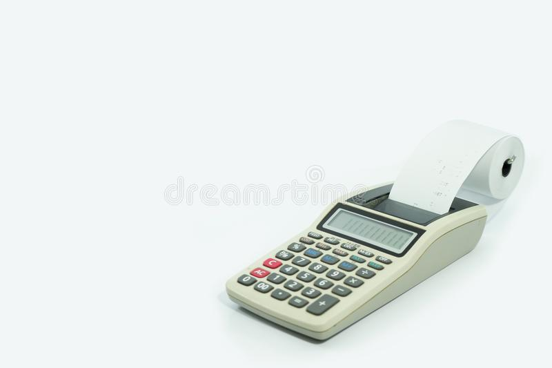Calculator with printed receipt on isolated white royalty free stock photo