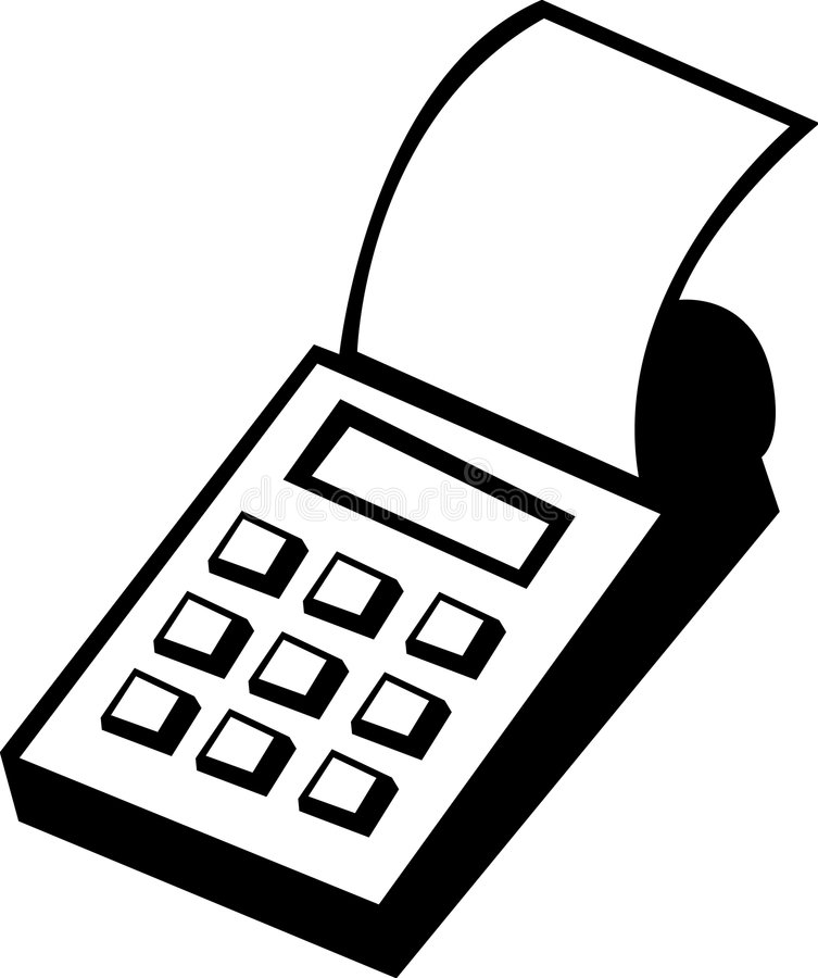 Calculator with printer vector illustration royalty free illustration