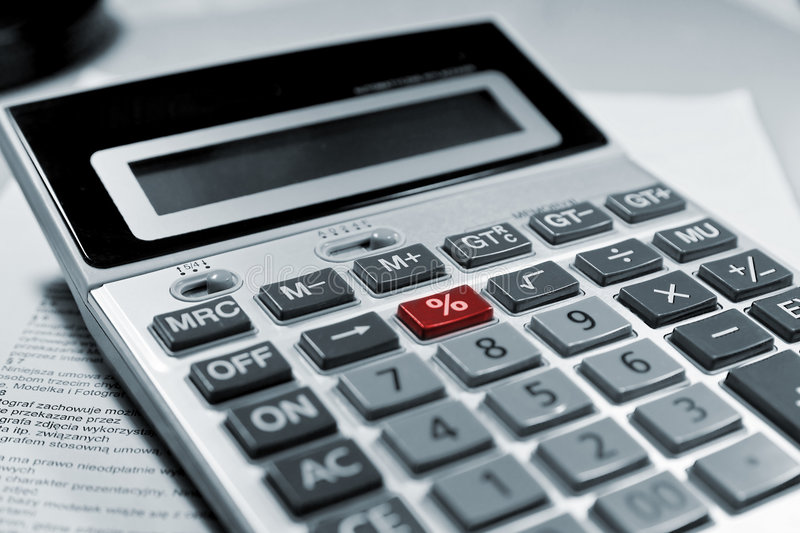 Calculator red % symbol. stock image