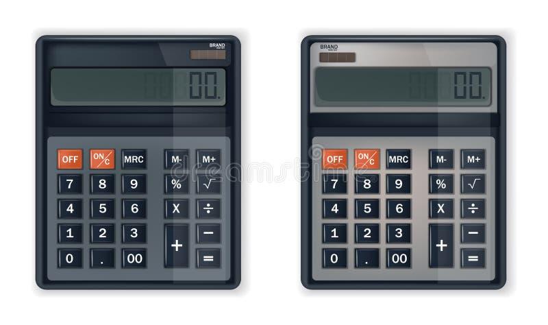 Calculator of rekenmachine Vector realistisch geïsoleerd op wit stock illustratie