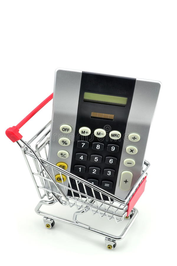 A Calculator In A Shopping Trolley Cart. Stock Photos