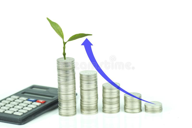 Calculator, small tree grow up and stacked of coins with arrow up on white background, concept in growth,. Save and investment in business stock photography