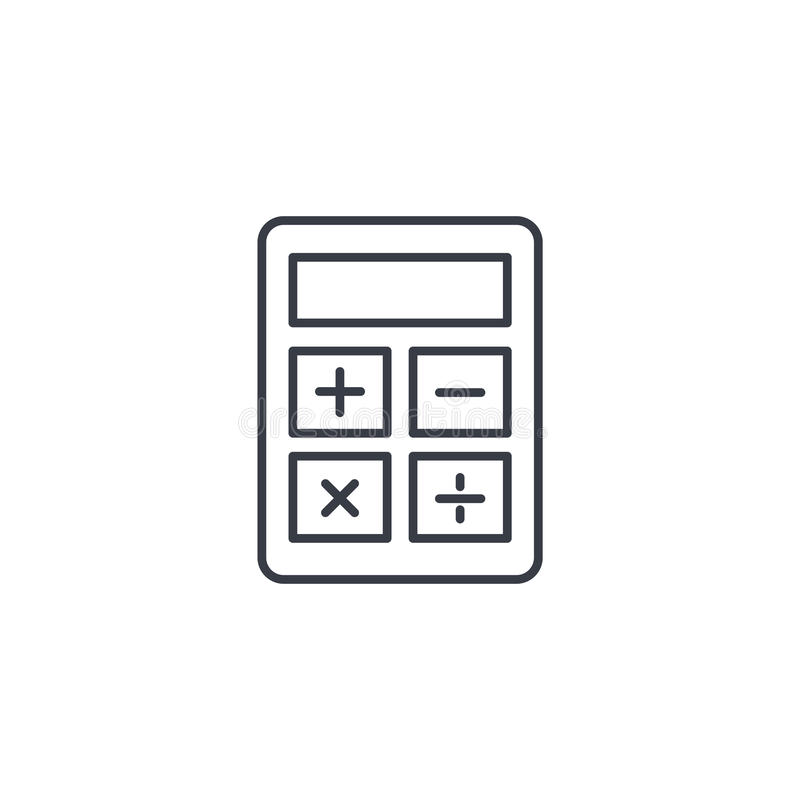 Calculator thin line icon. Linear vector symbol. Calculator thin line icon. Linear vector illustration. Pictogram isolated on white background royalty free illustration